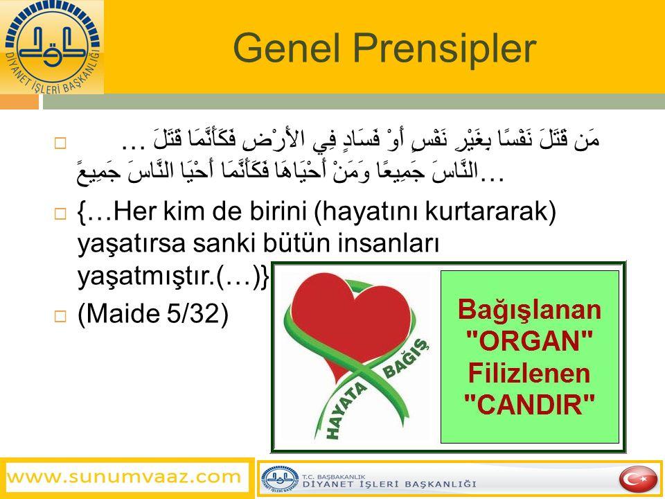 Genel Prensipler İslâm'ın hükümlerinde gözettiği temel prensipler;  Canı korumak,  Malı Korumak  Aklı korumak,  Nesli korumak  Dini korumak,