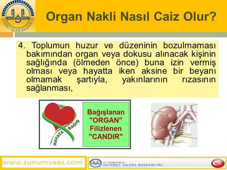 Organ Nakli Nasıl Caiz Olur? 3. Organ ve doku alınan kişinin, bu işlemlerin yapıldığı esnada ölmüş olması,
