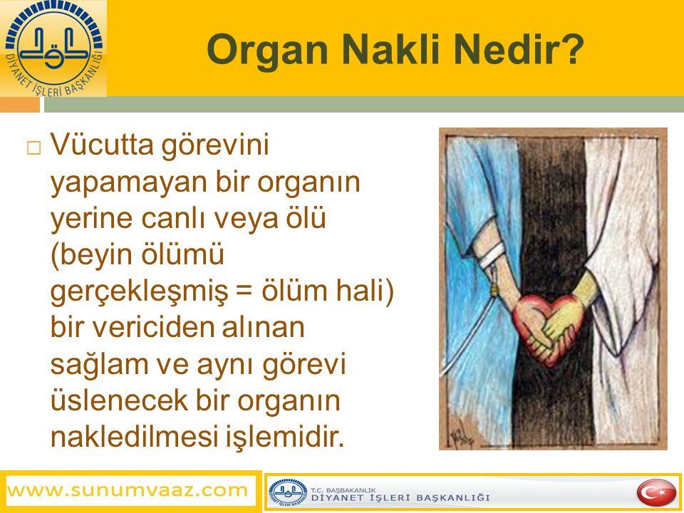  Hastalık ve tedavi konusunda kamuoyunun dini telakkisini en çok meşgul eden konulardan biride organ naklidir.  Organ nakli, tıp ilmi kadar alan ve