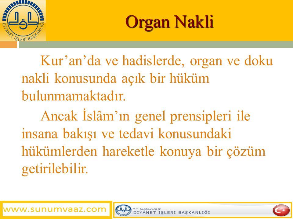 Organ Nakli Nedir?  Vücutta görevini yapamayan bir organın yerine canlı veya ölü (beyin ölümü gerçekleşmiş = ölüm hali) bir vericiden alınan sağlam v