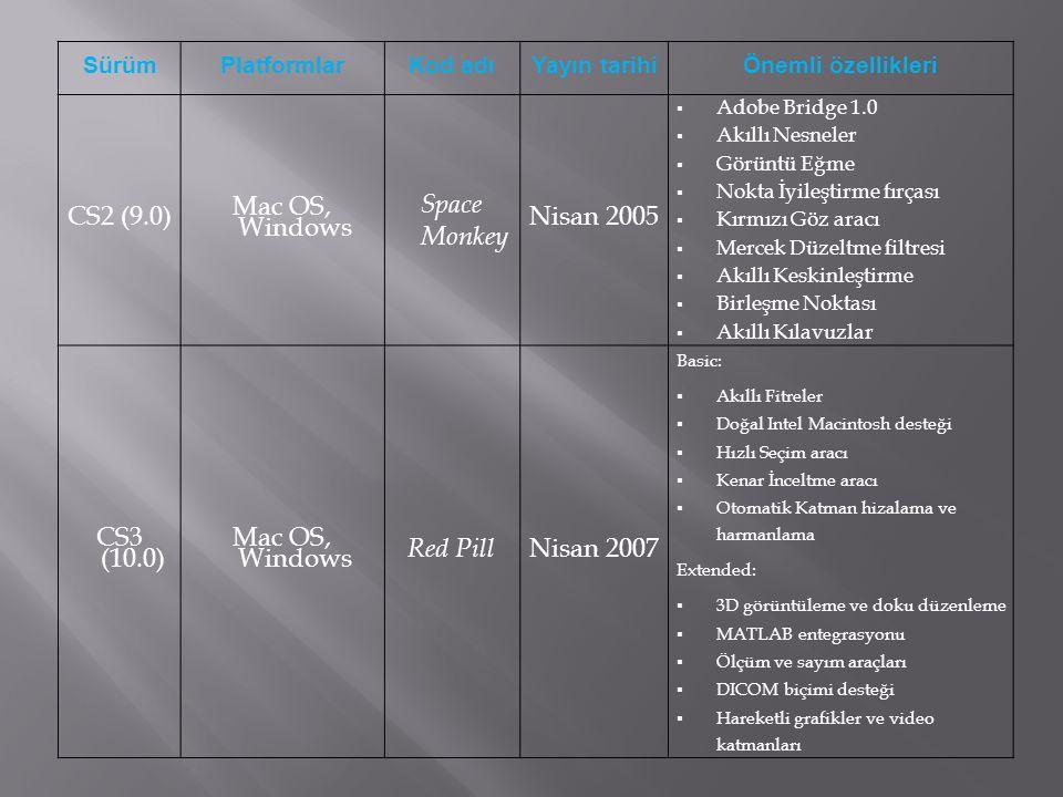 SürümPlatformlarKod adıYayın tarihiÖnemli özellikleri CS2 (9.0) Mac OS, Windows Space Monkey Nisan 2005  Adobe Bridge 1.0  Akıllı Nesneler  Görüntü