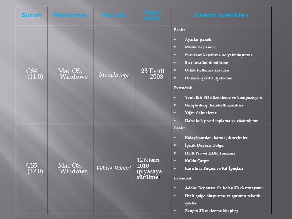 SürümPlatformlarKod adı Yayın tarihi Önemli özellikleri CS4 (11.0) Mac OS, Windows Stonehenge 23 Eylül 2008 Basic:  Ayarlar paneli  Maskeler paneli