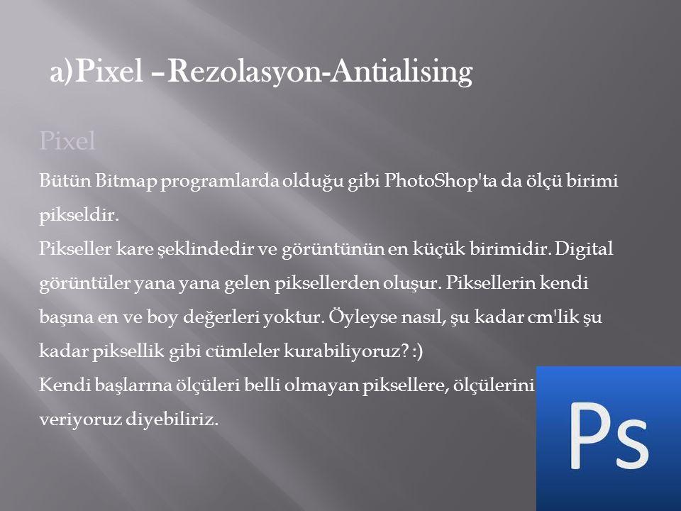 Pixel Bütün Bitmap programlarda olduğu gibi PhotoShop'ta da ölçü birimi pikseldir. Pikseller kare şeklindedir ve görüntünün en küçük birimidir. Digita
