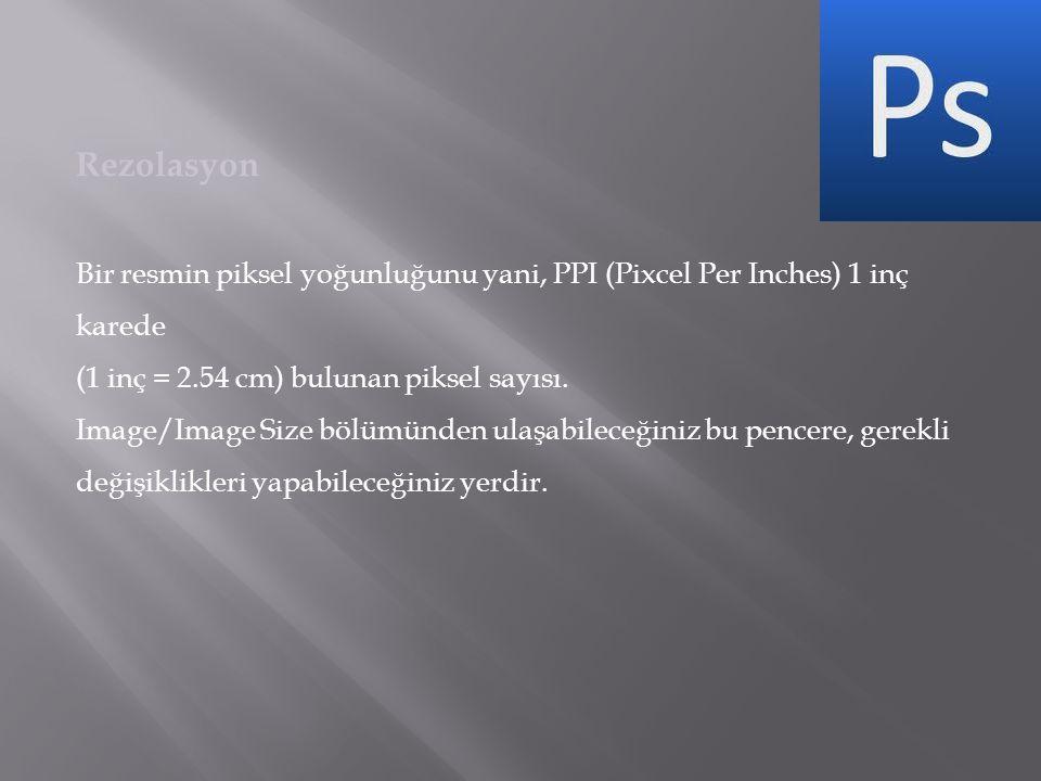 Rezolasyon Bir resmin piksel yoğunluğunu yani, PPI (Pixcel Per Inches) 1 inç karede (1 inç = 2.54 cm) bulunan piksel sayısı.