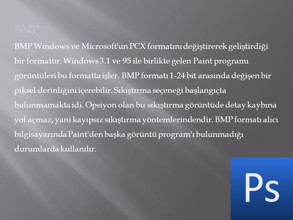 BMP BMP Windows ve Microsoft'un PCX formatını değiştirerek geliştirdiği bir formattır. Windows 3.1 ve 95 ile birlikte gelen Paint programı görüntüleri