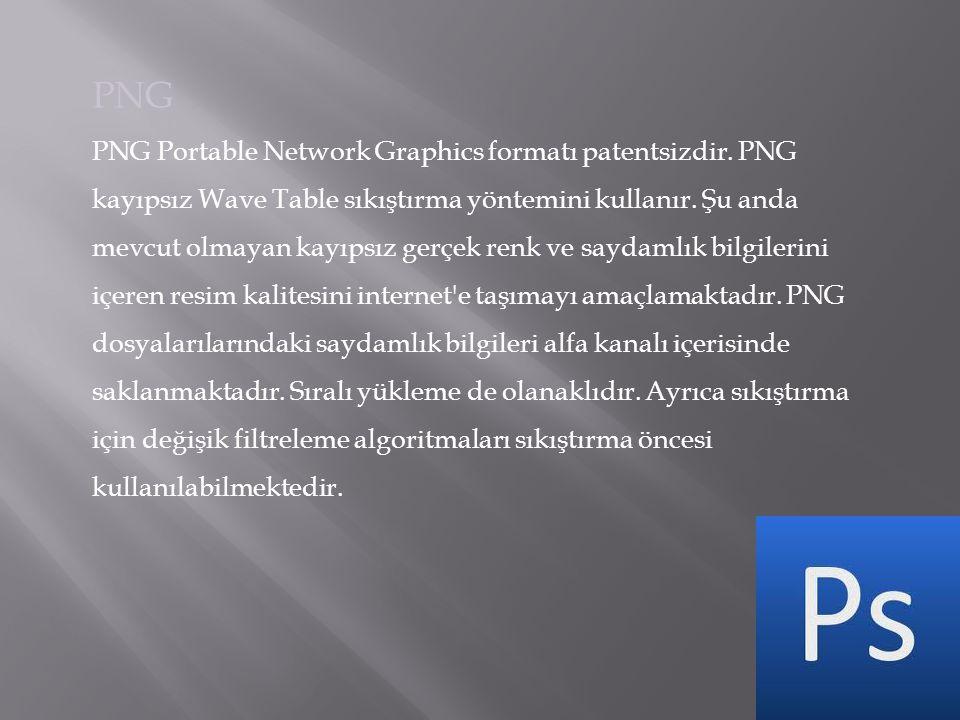 PNG PNG Portable Network Graphics formatı patentsizdir. PNG kayıpsız Wave Table sıkıştırma yöntemini kullanır. Şu anda mevcut olmayan kayıpsız gerçek