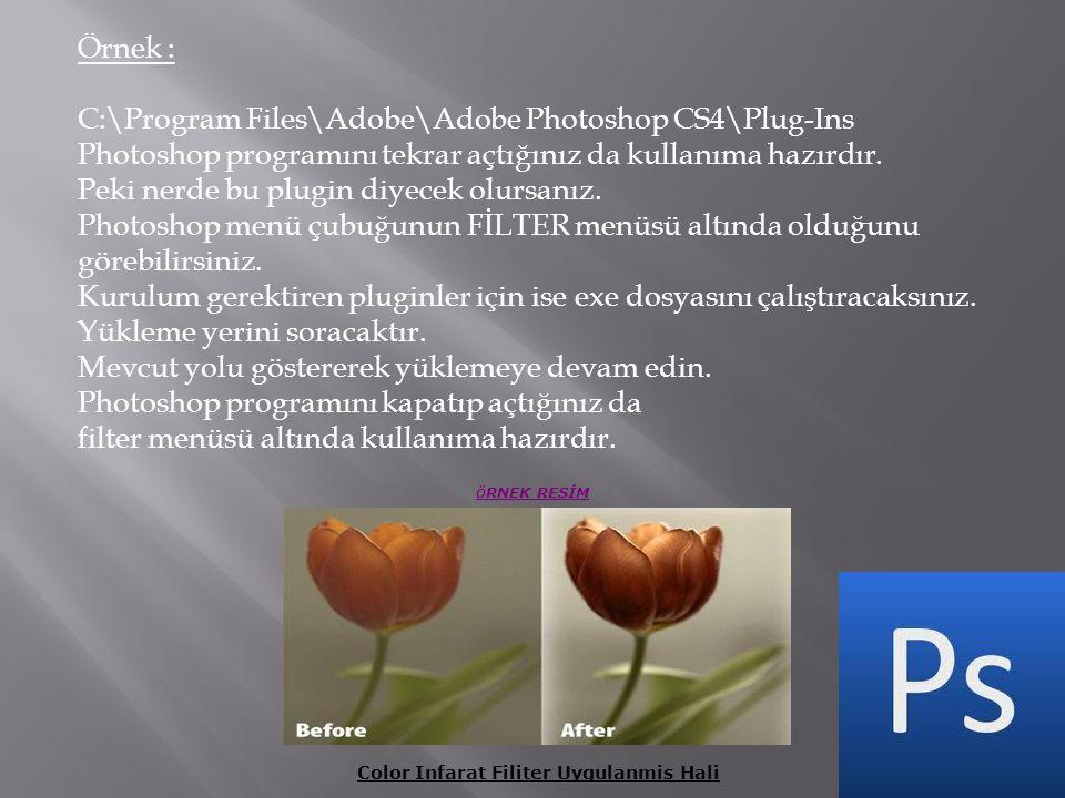 Örnek : C:\Program Files\Adobe\Adobe Photoshop CS4\Plug-Ins Photoshop programını tekrar açtığınız da kullanıma hazırdır. Peki nerde bu plugin diyecek
