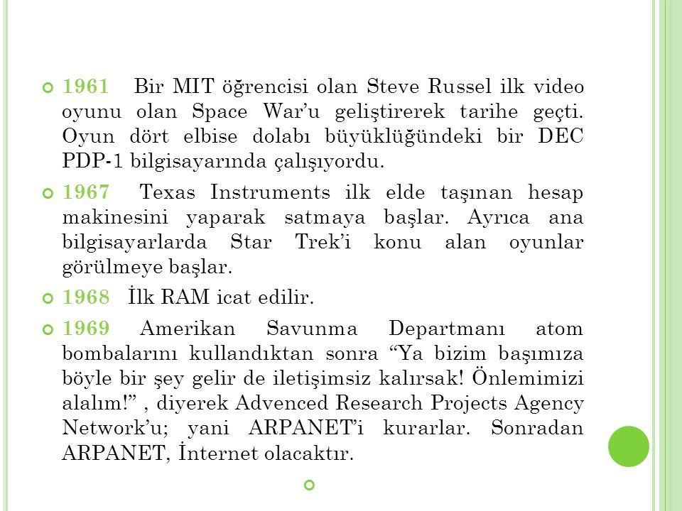 1961 Bir MIT öğrencisi olan Steve Russel ilk video oyunu olan Space War'u geliştirerek tarihe geçti. Oyun dört elbise dolabı büyüklüğündeki bir DEC PD