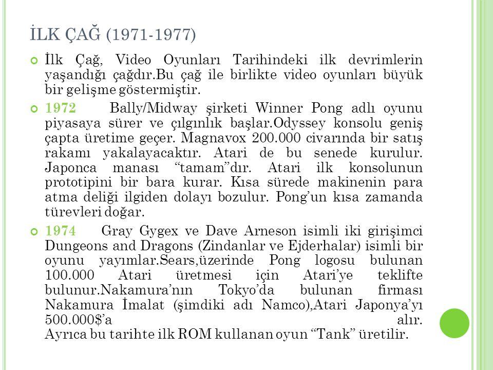İLK ÇAĞ (1971-1977) İlk Çağ, Video Oyunları Tarihindeki ilk devrimlerin yaşandığı çağdır.Bu çağ ile birlikte video oyunları büyük bir gelişme göstermi