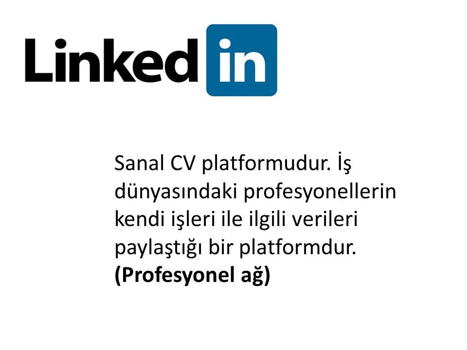 Sanal CV platformudur. İş dünyasındaki profesyonellerin kendi işleri ile ilgili verileri paylaştığı bir platformdur. (Profesyonel ağ)