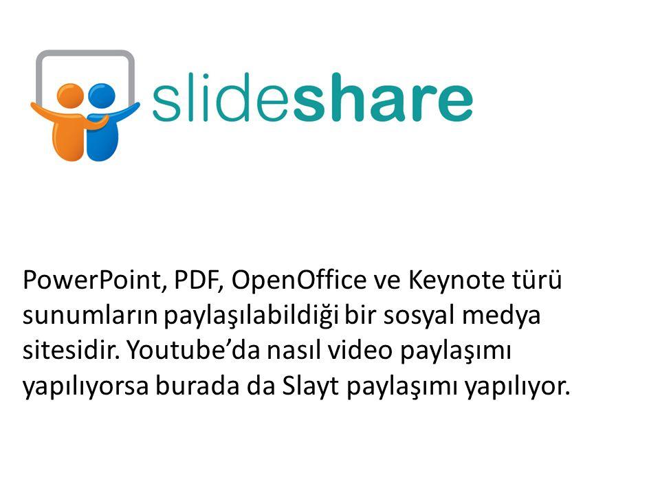 PowerPoint, PDF, OpenOffice ve Keynote türü sunumların paylaşılabildiği bir sosyal medya sitesidir. Youtube'da nasıl video paylaşımı yapılıyorsa burad