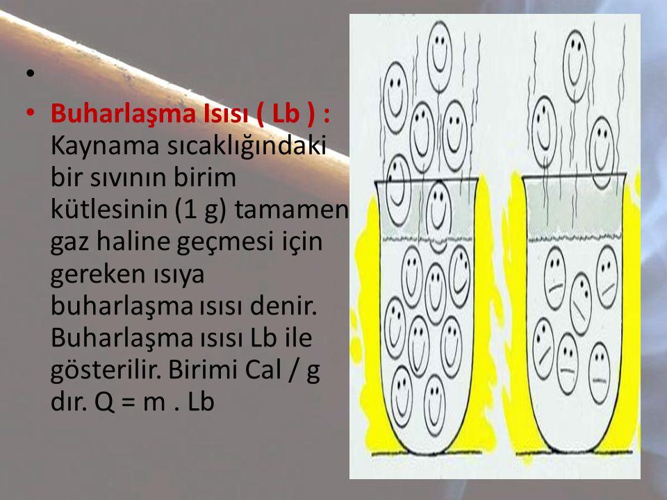 • • Buharlaşma Isısı ( Lb ) : Kaynama sıcaklığındaki bir sıvının birim kütlesinin (1 g) tamamen gaz haline geçmesi için gereken ısıya buharlaşma ısısı