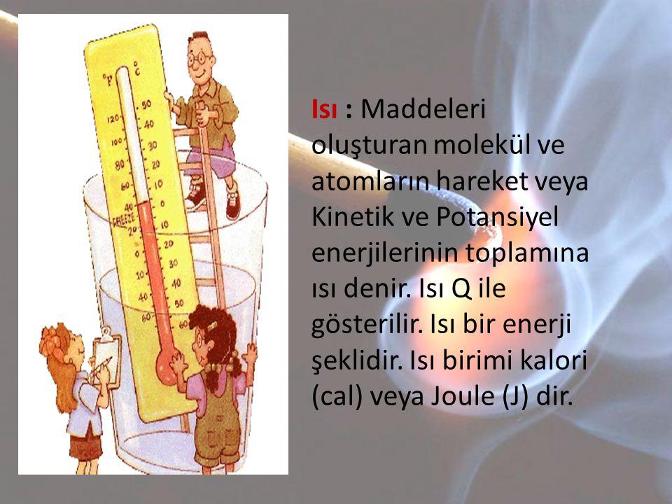 Sıcaklık : Bir maddenin yapısındaki molekül veya atomların ortalama Kinetik enerjilerinin ölçümüne sıcaklık denir.Sıcaklık t veya T ile gösterilir.