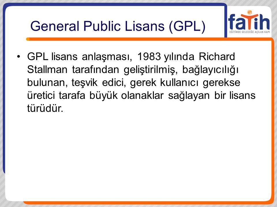 General Public Lisans (GPL) •GPL lisans anlaşması, 1983 yılında Richard Stallman tarafından geliştirilmiş, bağlayıcılığı bulunan, teşvik edici, gerek kullanıcı gerekse üretici tarafa büyük olanaklar sağlayan bir lisans türüdür.