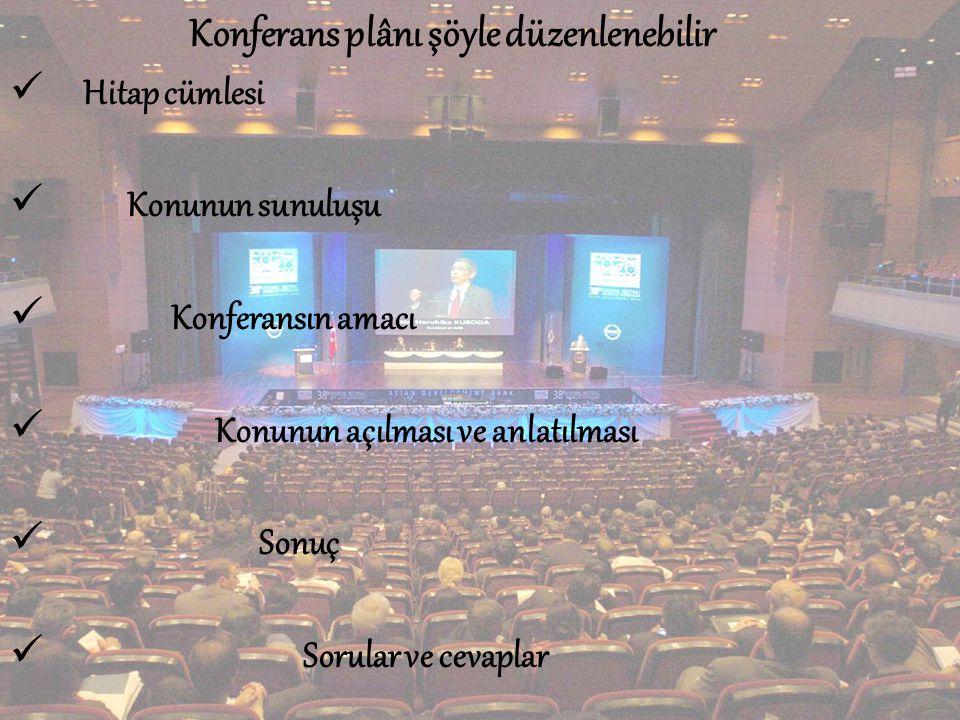 Konferans plânı şöyle düzenlenebilir  Hitap cümlesi  Konunun sunuluşu  Konferansın amacı  Konunun açılması ve anlatılması  Sonuç  Sorular ve cevaplar