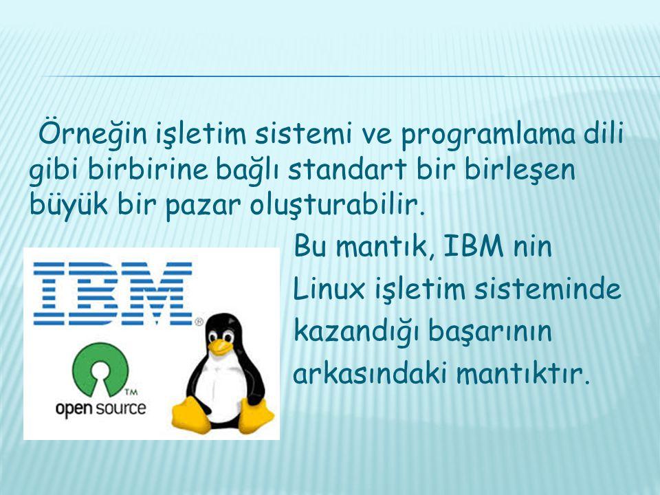 Örneğin işletim sistemi ve programlama dili gibi birbirine bağlı standart bir birleşen büyük bir pazar oluşturabilir.