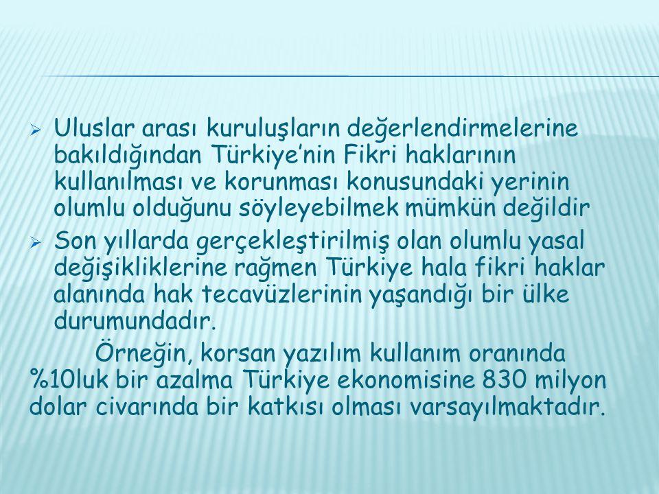  Uluslar arası kuruluşların değerlendirmelerine bakıldığından Türkiye'nin Fikri haklarının kullanılması ve korunması konusundaki yerinin olumlu olduğunu söyleyebilmek mümkün değildir  Son yıllarda gerçekleştirilmiş olan olumlu yasal değişikliklerine rağmen Türkiye hala fikri haklar alanında hak tecavüzlerinin yaşandığı bir ülke durumundadır.