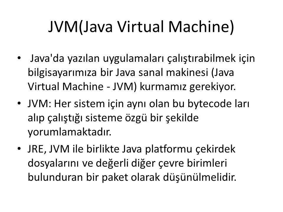 JVM(Java Virtual Machine) • Java'da yazılan uygulamaları çalıştırabilmek için bilgisayarımıza bir Java sanal makinesi (Java Virtual Machine - JVM) kur