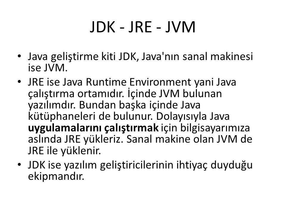 JDK - JRE - JVM • Java geliştirme kiti JDK, Java'nın sanal makinesi ise JVM. • JRE ise Java Runtime Environment yani Java çalıştırma ortamıdır. İçinde