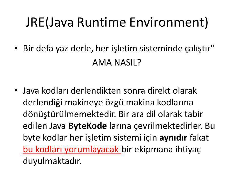JRE(Java Runtime Environment) • Bir defa yaz derle, her işletim sisteminde çalıştır