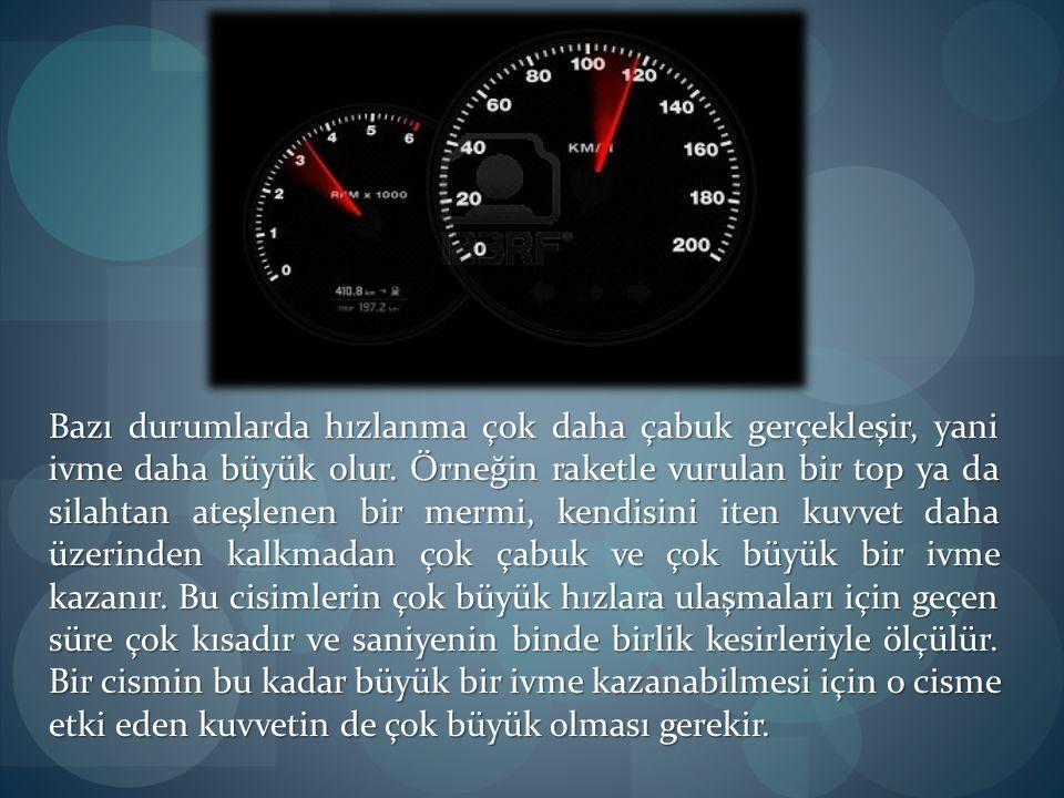 Hareket Yasası Bir otomobilin çok hızlı kalkabilmesi için, motorunun çok güçlü olması gerekir.