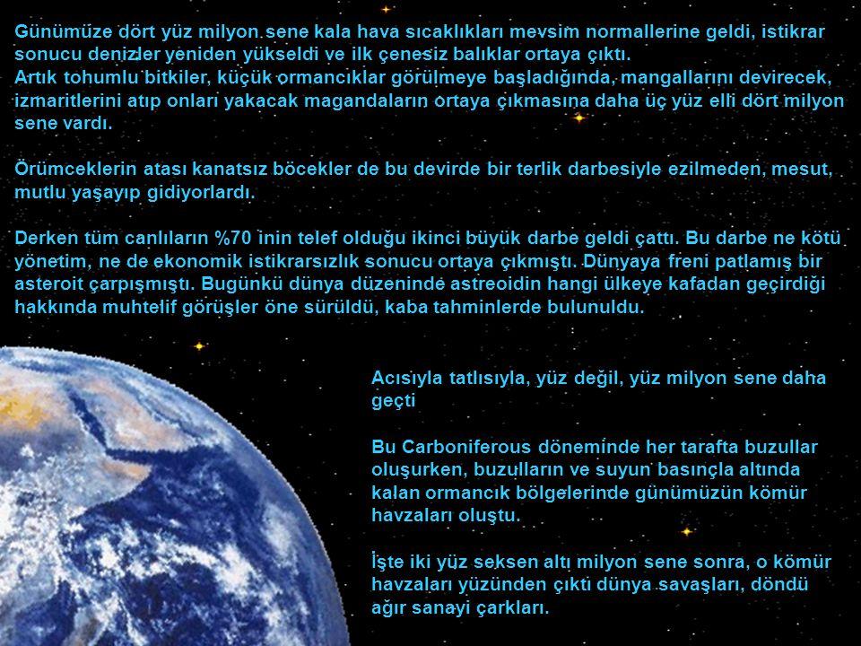 Zaman su gibi akıp gidiyordu. Günümüze iki milyar altı yüz milyon sene kalmıştı, kıtalar oluşuyordu artık. Bir sekiz yüz milyon sene daha habersiz geç