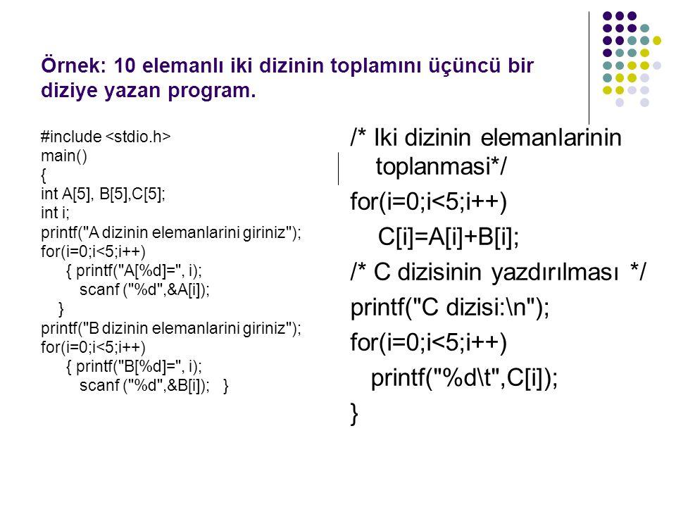 Örnek: 10 elemanlı iki dizinin toplamını üçüncü bir diziye yazan program. #include main() { int A[5], B[5],C[5]; int i; printf(