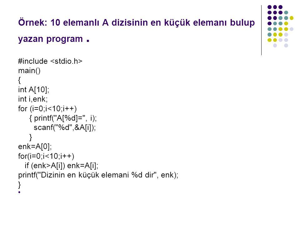 Örnek: 10 elemanlı A dizisinin en küçük elemanı bulup yazan program. #include main() { int A[10]; int i,enk; for (i=0;i<10;i++) { printf(