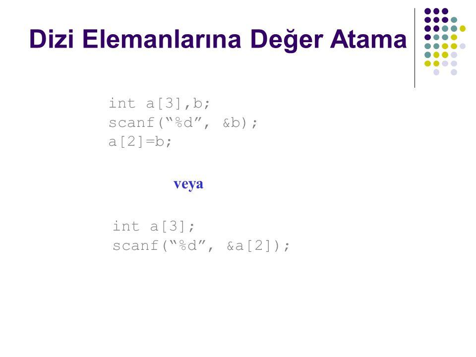 """Dizi Elemanlarına Değer Atama int a[3],b; scanf(""""%d"""", &b); a[2]=b; int a[3]; scanf(""""%d"""", &a[2]); veya"""