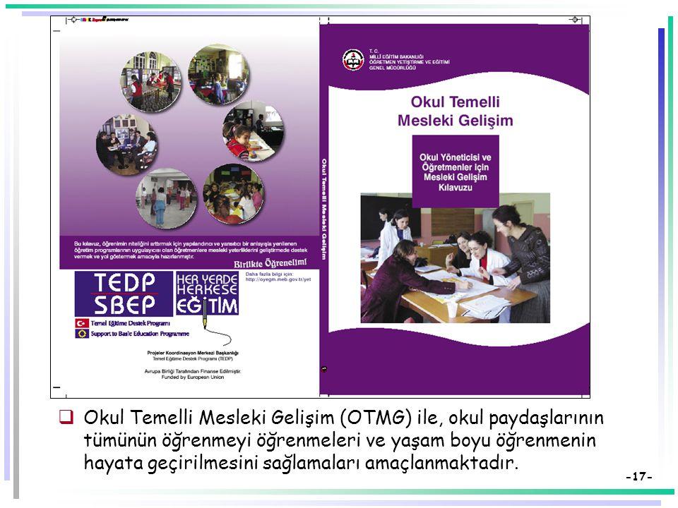 -16- Okul Temelli Mesleki Gelişim (OTMG)  Okul Temelli Mesleki Gelişim (OTMG), okul içinde ve dışında öğretmenlerin mesleki bilgi, beceri, değer ve t