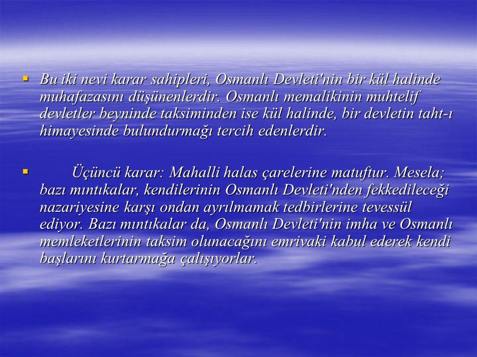  Bu iki nevi karar sahipleri, Osmanlı Devleti'nin bir kül halinde muhafazasını düşünenlerdir. Osmanlı memalikinin muhtelif devletler beyninde taksimi