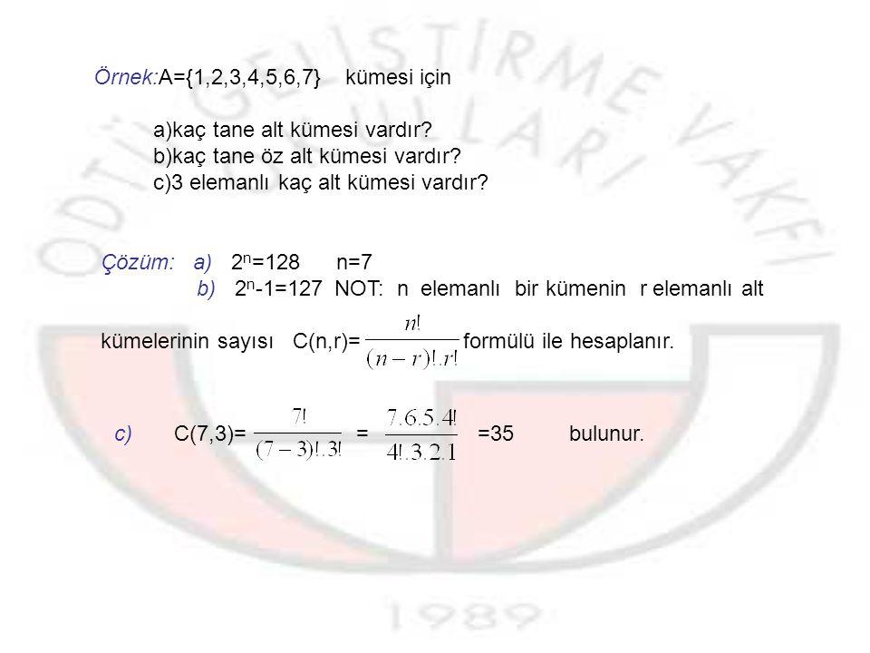 ÖZALT KÜME:Bir kümenin kendisinden farklı alt kümelerine bu kümenin öz alt kümeleri denir.Bir kümenin öz alt küme sayısı 2 n -1 ile bulunur.
