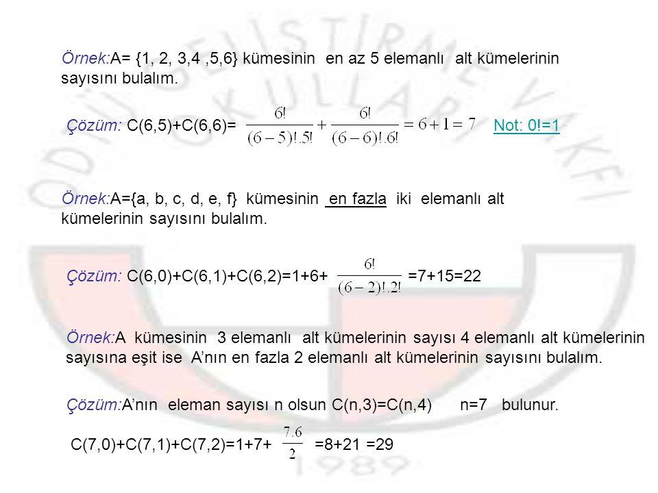 Örnek:A={1,2,3,4,5,6,7} kümesi için a)kaç tane alt kümesi vardır.
