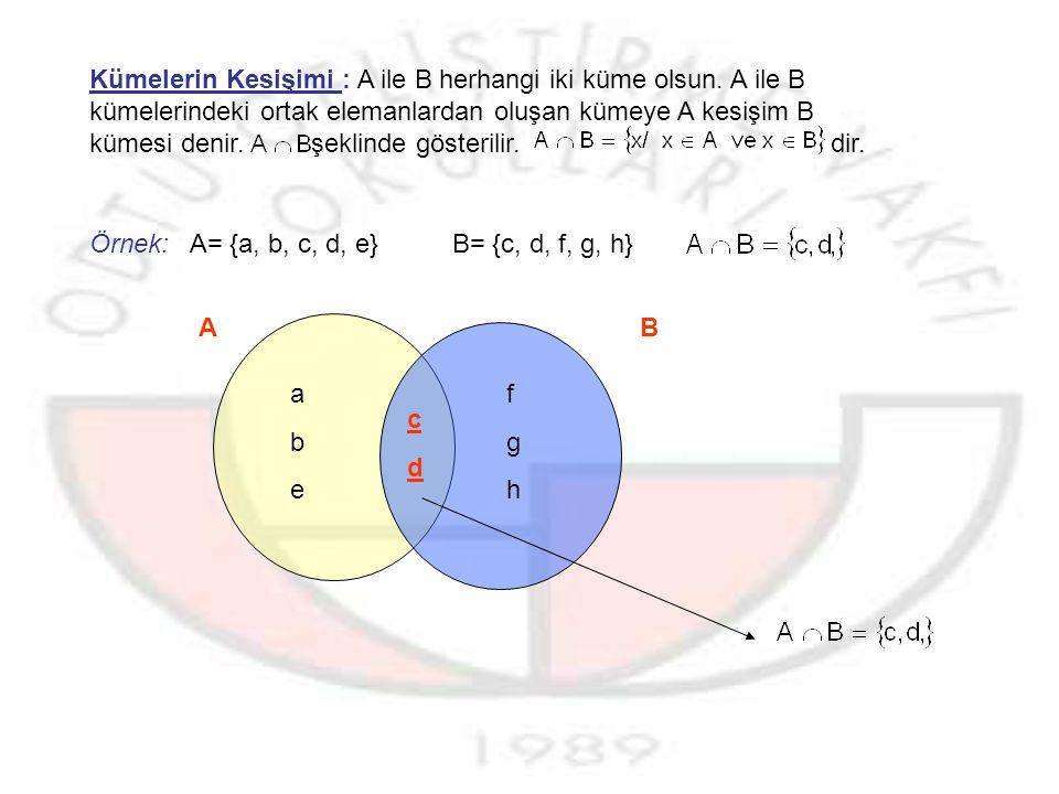 Örnek : ABCABC ADEADE EFGEFG A BC a)AUB=.b)AUC=. c)BUC=.