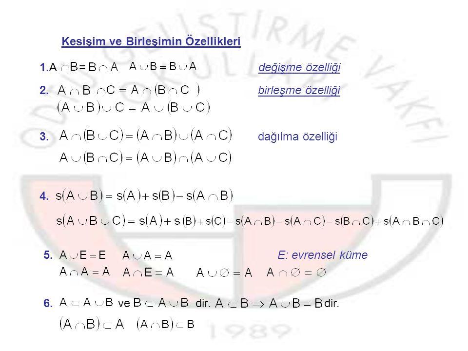 Kümelerin Kesişimi : A ile B herhangi iki küme olsun.