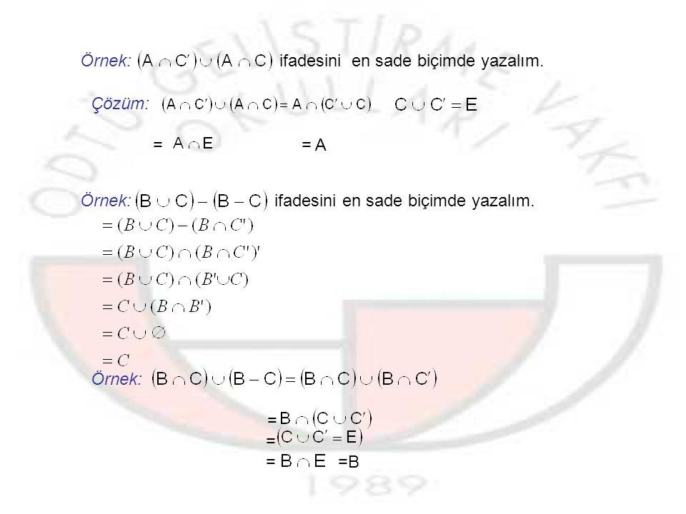 FARK İLE İLGİLİ ÖZELLİKLER: 1)A≠B ise A\B ≠B\A 2) A\B= A\( 3)E\A=A', E\A'=A 4) iseA\B= 5) ise A\B=A 6) ) A\A=, A\ =A, - A= Örnek: a) A\B b) B\A