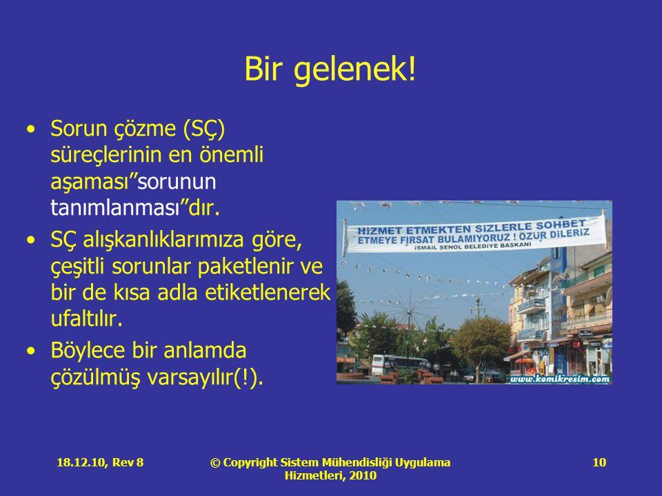 """© Copyright Sistem Mühendisliği Uygulama Hizmetleri, 2010 18.12.10, Rev 810 Bir gelenek! •Sorun çözme (SÇ) süreçlerinin en önemli aşaması""""sorunun tanı"""