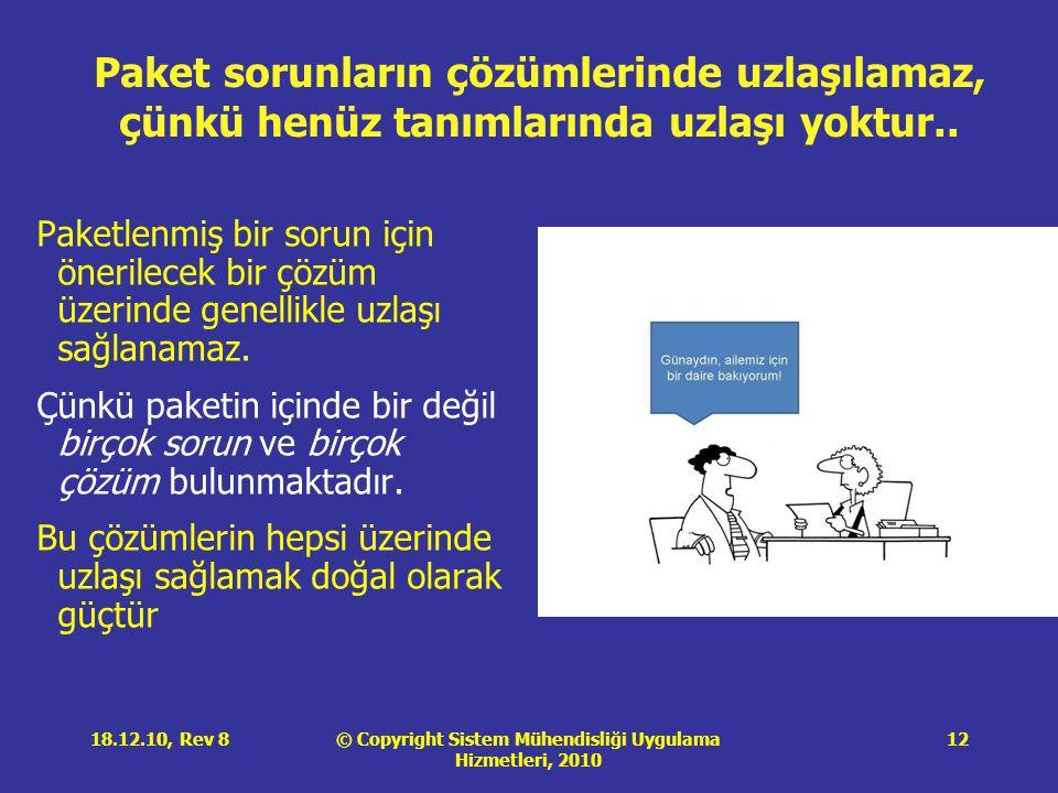 © Copyright Sistem Mühendisliği Uygulama Hizmetleri, 2010 18.12.10, Rev 812 Paket sorunların çözümlerinde uzlaşılamaz, çünkü henüz tanımlarında uzlaşı yoktur..