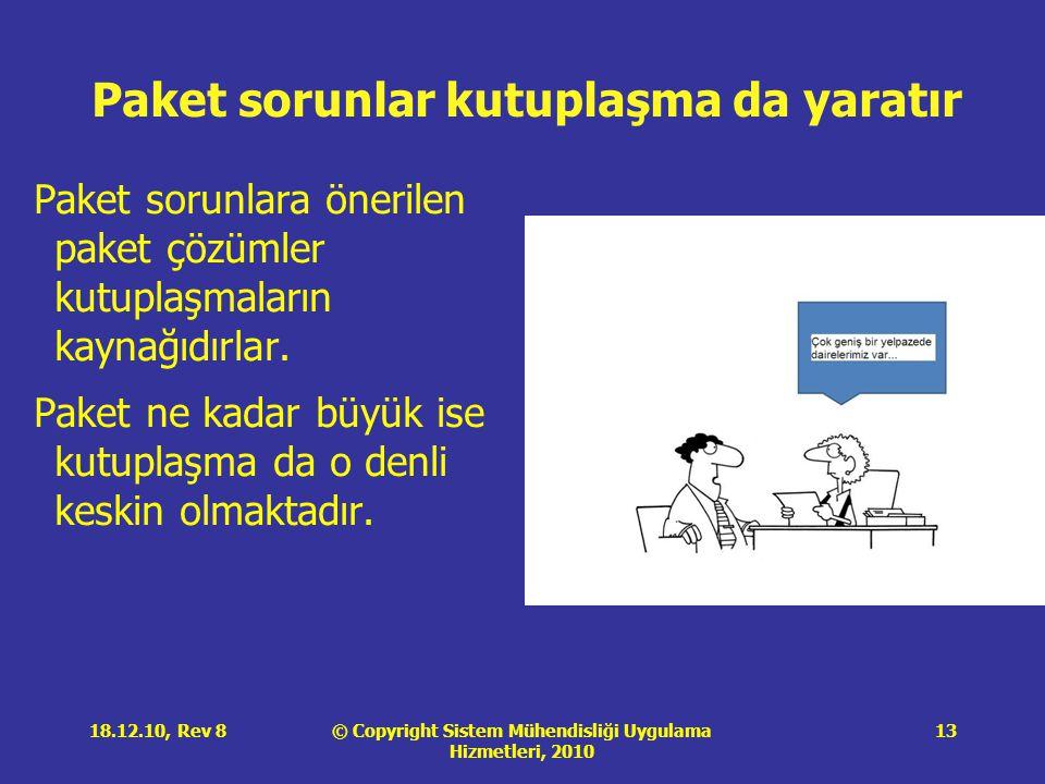 © Copyright Sistem Mühendisliği Uygulama Hizmetleri, 2010 18.12.10, Rev 813 Paket sorunlar kutuplaşma da yaratır Paket sorunlara önerilen paket çözüml