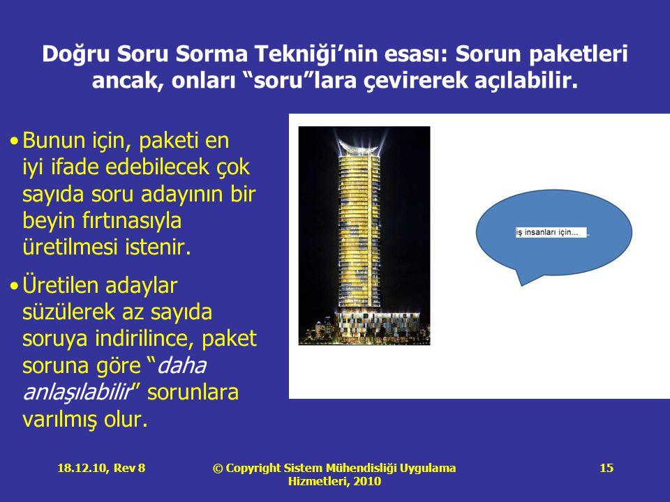 © Copyright Sistem Mühendisliği Uygulama Hizmetleri, 2010 18.12.10, Rev 815 Doğru Soru Sorma Tekniği'nin esası: Sorun paketleri ancak, onları soru lara çevirerek açılabilir.