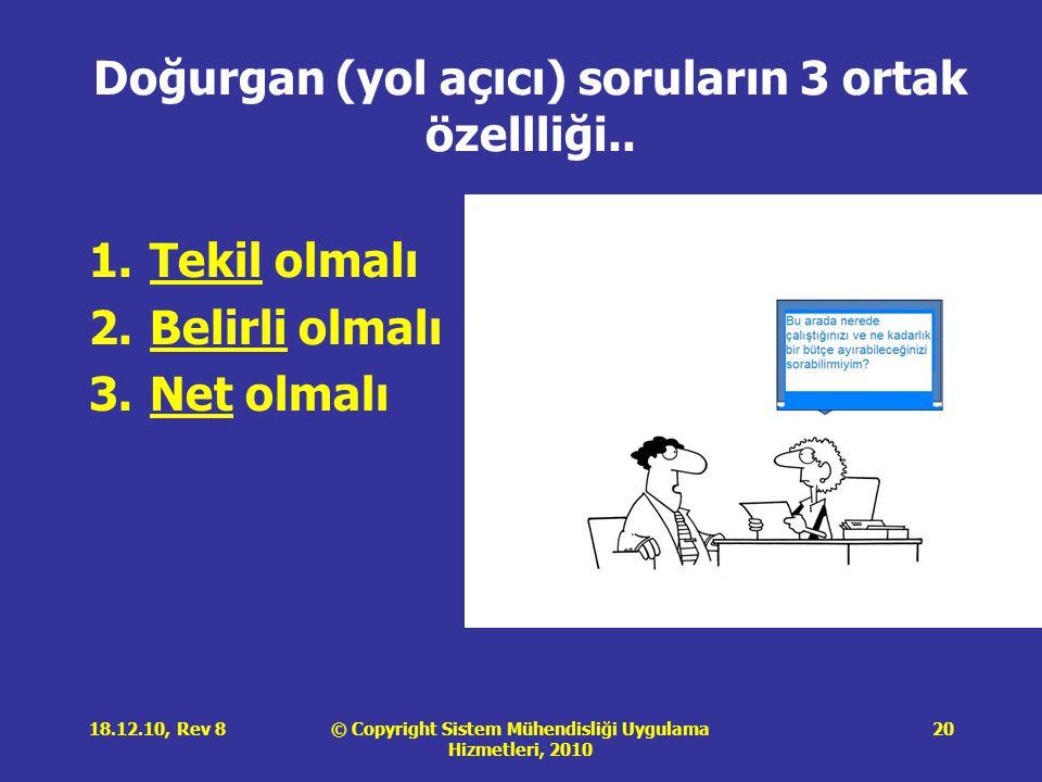 © Copyright Sistem Mühendisliği Uygulama Hizmetleri, 2010 18.12.10, Rev 820 Doğurgan (yol açıcı) soruların 3 ortak özellliği.. 1.Tekil olmalı 2.Belirl