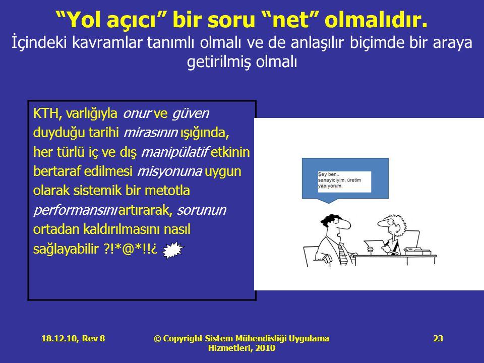 © Copyright Sistem Mühendisliği Uygulama Hizmetleri, 2010 18.12.10, Rev 823 Yol açıcı bir soru net olmalıdır.