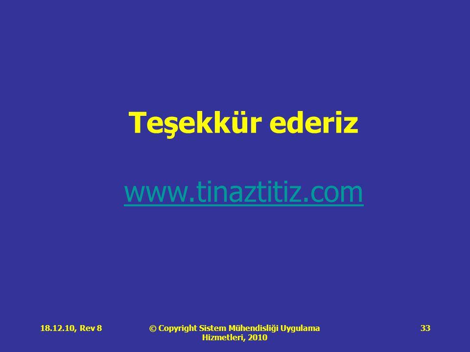 © Copyright Sistem Mühendisliği Uygulama Hizmetleri, 2010 18.12.10, Rev 833 Teşekkür ederiz www.tinaztitiz.com