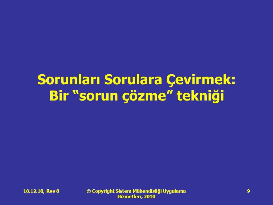 © Copyright Sistem Mühendisliği Uygulama Hizmetleri, 2010 18.12.10, Rev 89 Sorunları Sorulara Çevirmek: Bir sorun çözme tekniği