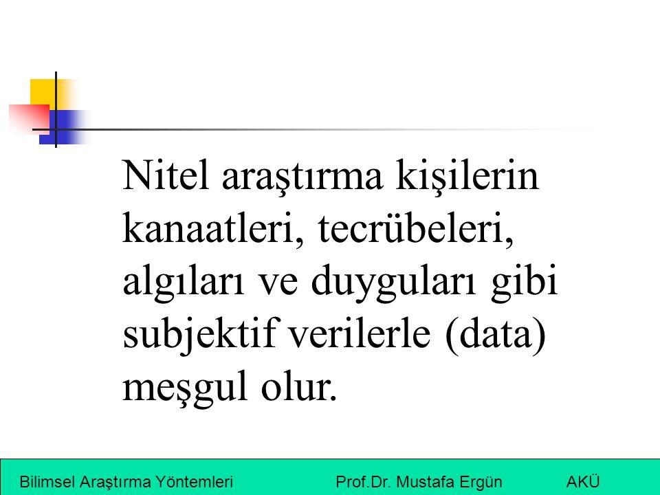 Bilimsel Araştırma Yöntemleri Prof.Dr. Mustafa Ergün AKÜ Nitel araştırma kişilerin kanaatleri, tecrübeleri, algıları ve duyguları gibi subjektif veril