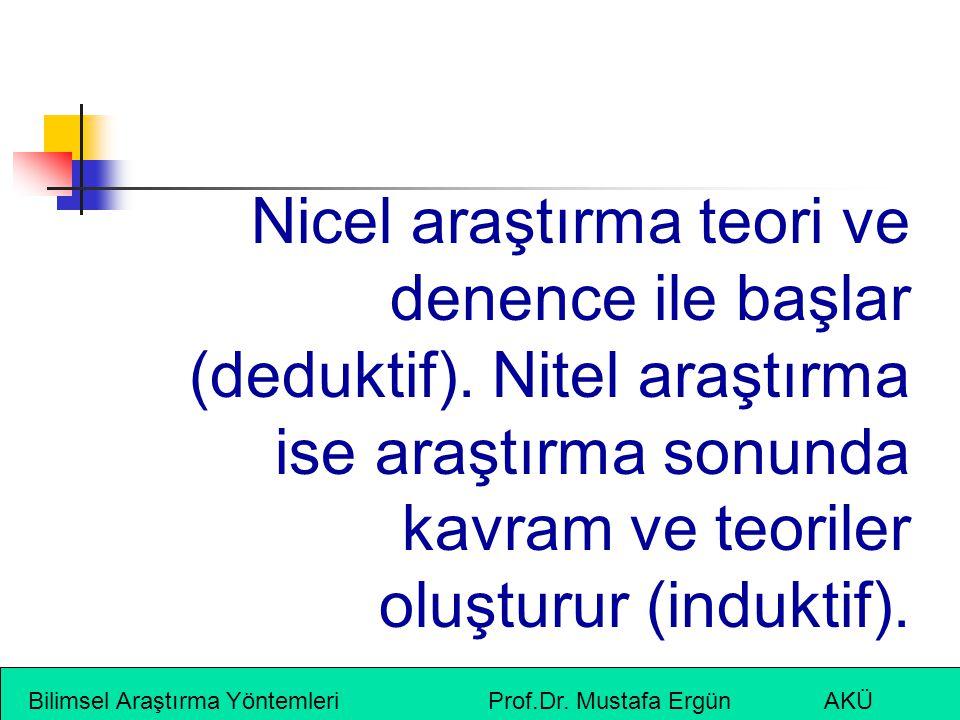 Bilimsel Araştırma Yöntemleri Prof.Dr. Mustafa Ergün AKÜ Nicel araştırma teori ve denence ile başlar (deduktif). Nitel araştırma ise araştırma sonunda