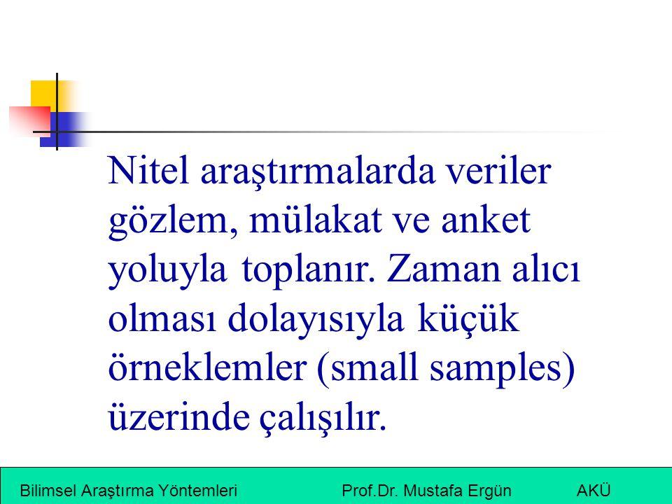 Bilimsel Araştırma Yöntemleri Prof.Dr. Mustafa Ergün AKÜ Nitel araştırmalarda veriler gözlem, mülakat ve anket yoluyla toplanır. Zaman alıcı olması do