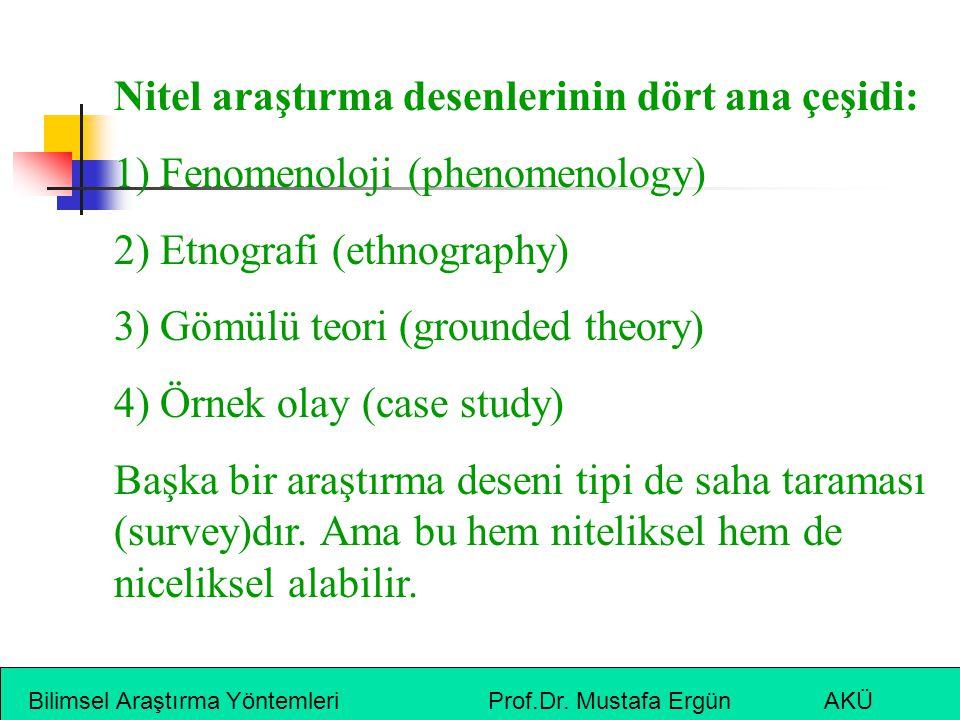 Bilimsel Araştırma Yöntemleri Prof.Dr. Mustafa Ergün AKÜ Nitel araştırma desenlerinin dört ana çeşidi: 1) Fenomenoloji (phenomenology) 2) Etnografi (e