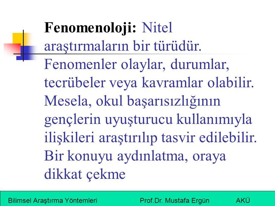 Bilimsel Araştırma Yöntemleri Prof.Dr. Mustafa Ergün AKÜ Fenomenoloji: Nitel araştırmaların bir türüdür. Fenomenler olaylar, durumlar, tecrübeler veya