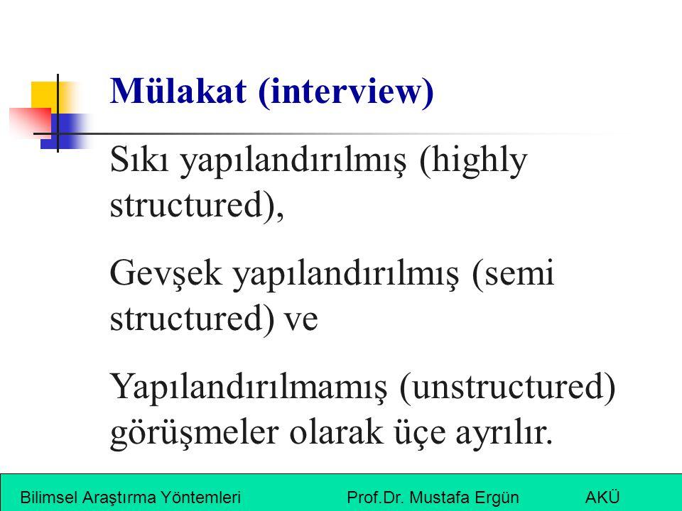 Bilimsel Araştırma Yöntemleri Prof.Dr. Mustafa Ergün AKÜ Mülakat (interview) Sıkı yapılandırılmış (highly structured), Gevşek yapılandırılmış (semi st